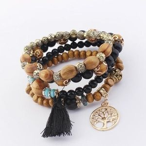 Jewelry - Bohemian Tree of Life Bracelet Stack in Black